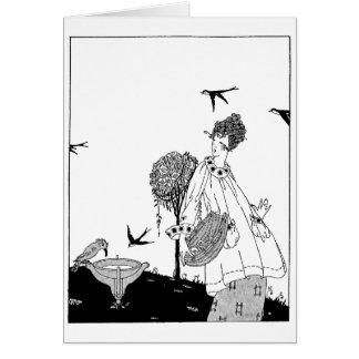 Vintagekvinna med fågelbadet och svalor hälsningskort