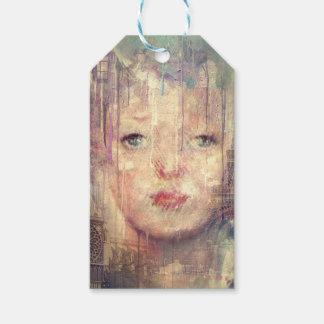 Vintagekvinnan Paris målar drypande Presentetikett
