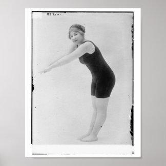 Vintagekvinnasimmare Affisch
