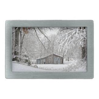 Vintageladugård i ny snö - lantliga Tennessee