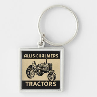 Vintagelantgårdtraktor Fyrkantig Silverfärgad Nyckelring