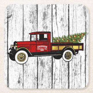 Vintagelastbil din julgranlantgård underlägg papper kvadrat
