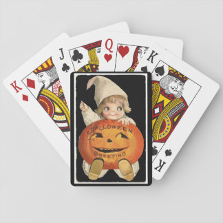 Vintageliten flicka med stor Halloween pumpa Casinokort