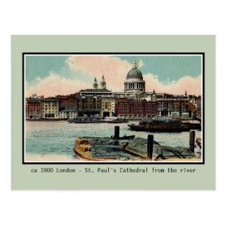 VintageLondon St Paul domkyrka från Thames Vykort