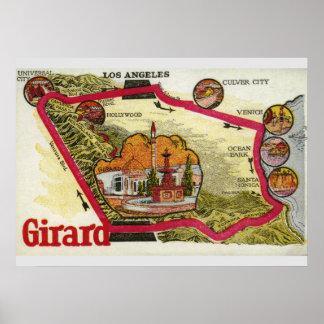 VintageLos Angeles karta Poster