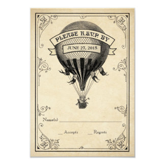 Vintageluftballongbröllop OSA 8,9 X 12,7 Cm Inbjudningskort