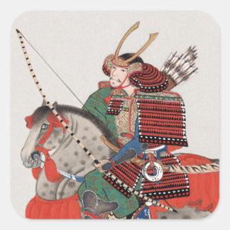Vintagemålning av en Samurai på hästrygg Fyrkantigt Klistermärke