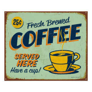 Vintagemetall undertecknar - nytt bryggat kaffe poster