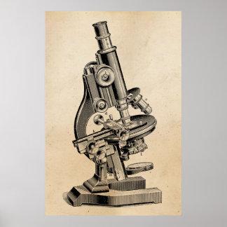 Vintagemikroskopillustration Retro Steampunk Poster