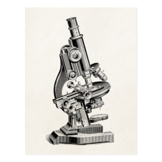 Vintagemikroskopillustration Retro Steampunk Vykort