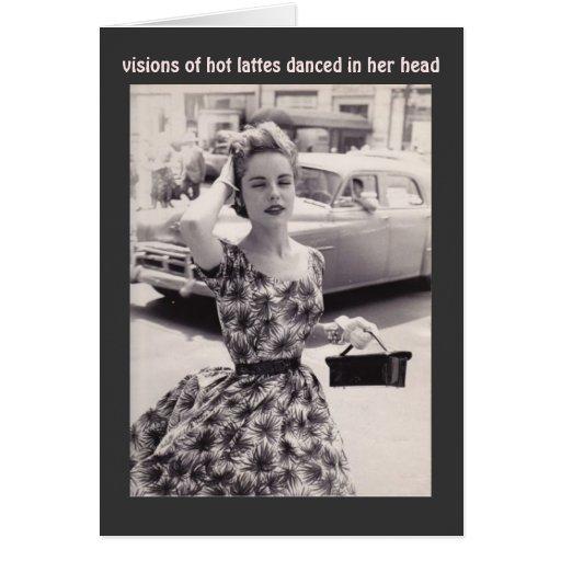 Vintagemode med kortet för kaffehumorfödelsedag kort