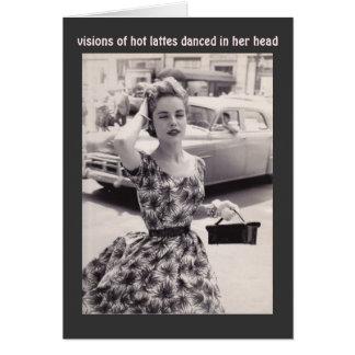 Vintagemode med kortet för kaffehumorfödelsedag OBS kort
