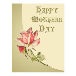 Vintagemors dag med rosa rosvykortet vykort