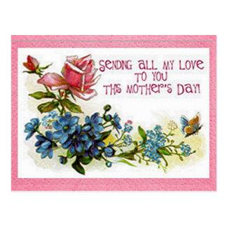 Vintagemors dagblommor vykort