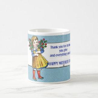 Vintagemors dagflicka och blommor kaffemugg
