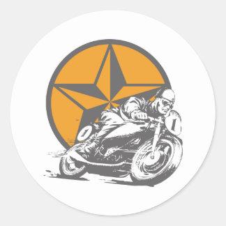 Vintagemotorcykeltävla cirklar stjärnan rund klistermärke