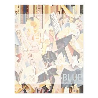 Vintagemusik, art décoJazz, extas i blått Brevhuvud