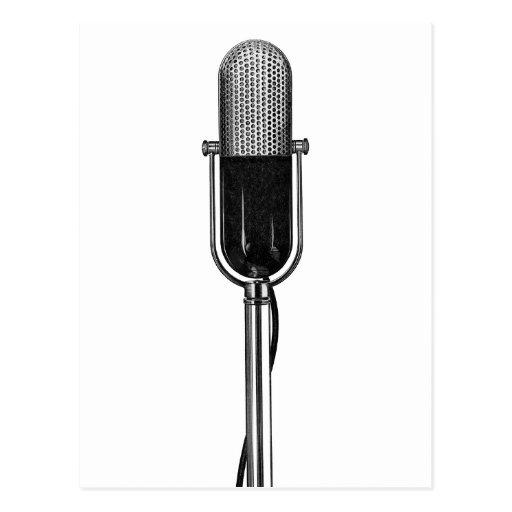 Vintagemusik, gammalmodig Retro mikrofon Vykort