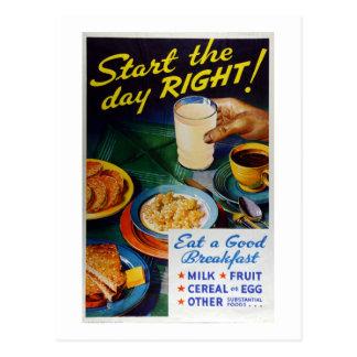 Vintagenäring äter sädesslag för frukostmjölkfrukt vykort