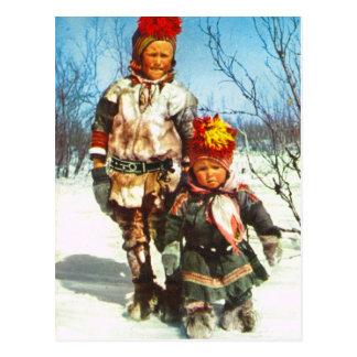 Vintagenorge, Lapland, Sami barn i snön Vykort