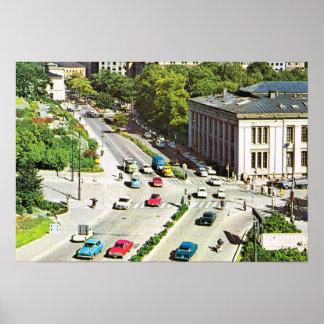 Vintagenorgen, den Oslo staden centrerar Poster