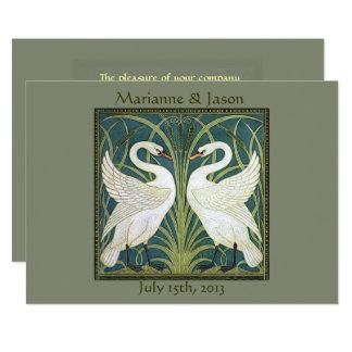 VintageNouveau svanar som gifta sig inbjudan 5