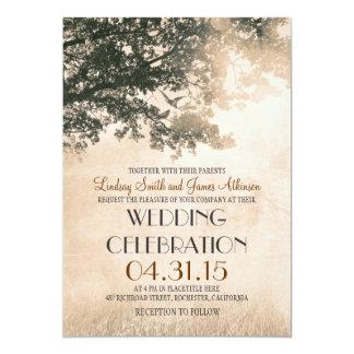 Vintageoakträd & love birdsbröllopsinbjudningar inbjudan