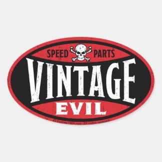 Vintageondska 001A Ovalt Klistermärke
