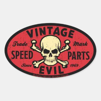 Vintageondska 007C Ovala Klistermärken