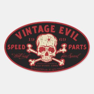 Vintageondska 016A Ovalt Klistermärke