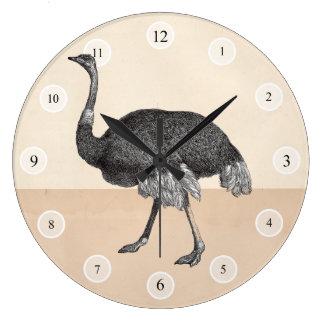 Vintageostrichen tar tid på stor klocka