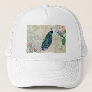 Vintagepåfågel, blommor och fjäril keps