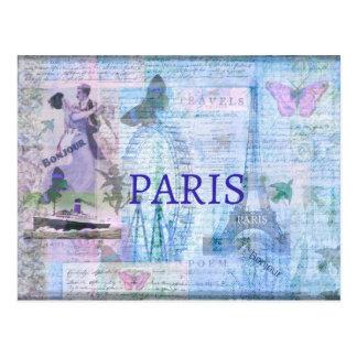 VintagePARIS themed konstverk med det Eiffel torn Vykort