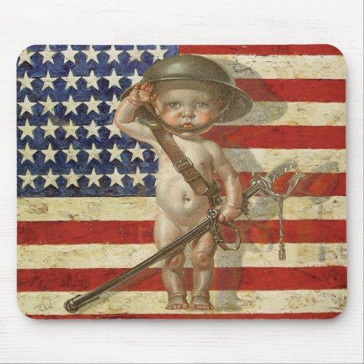 Vintagepatriot Mousepad med babyhjälten på flagga Mus Matta