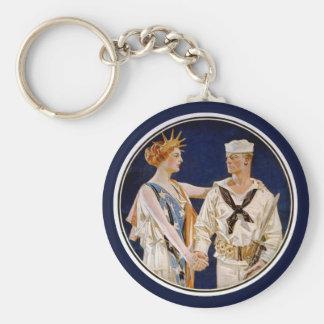 Vintagepatriotism, damfrihet med marinmanen rund nyckelring
