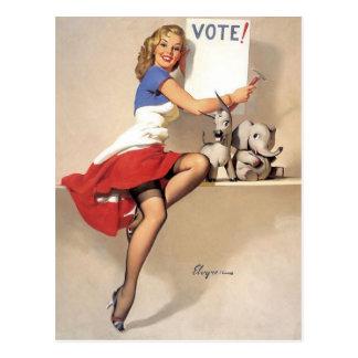 Vintagepinupet, röstar vykort