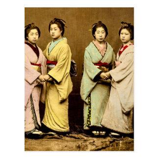 Vintageporträtt av fyra Geisha gammala Japan Vykort
