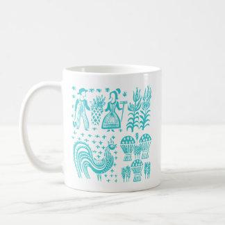VintagePyrex mönster - Butterprint turkosblått Kaffemugg
