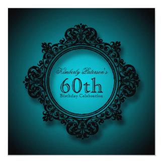 Vintageram i blått - 60th födelsedagfirande fyrkantigt 13,3 cm inbjudningskort