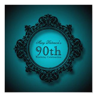 Vintageram i blått - 90:e födelsedagfirande fyrkantigt 13,3 cm inbjudningskort