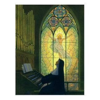 Vintagereligion, nunna som leker ett organ i kyrka vykort