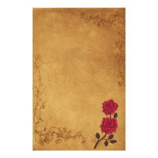 Vintageröd rosbröllop brevpapper