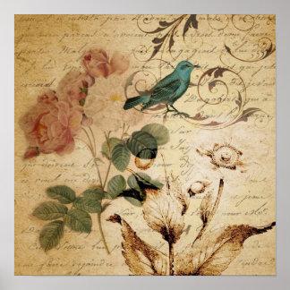 vintageron skrivar blom- mode för fågel poster