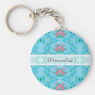 Vintagerosa- och blåtttapet med namn rund nyckelring