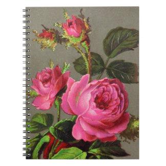 Vintagerosa ros anteckningsbok