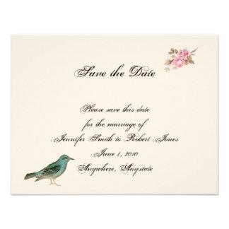 Vintagerosa ros och Robin bröllop spara datum