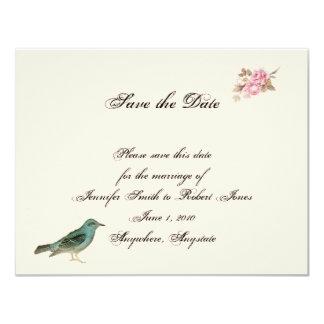Vintagerosa ros och Robin bröllop spara datum Kort För Inbjudningar