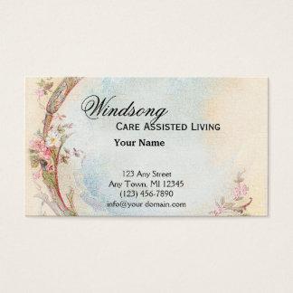 Vintagerosa ros- och Robin bröllopaffär Visitkort