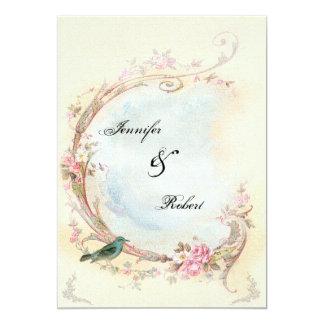 Vintagerosa ros- och Robin bröllopinbjudan 12,7 X 17,8 Cm Inbjudningskort