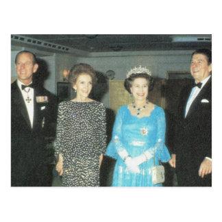 Vintageroyalty, drottning, Philip och Reagansen Vykort